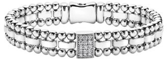 Women's Lagos Caviar Spark Diamond Rectangle Link Bracelet $1,300 thestylecure.com