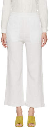 Raquel Allegra Off-White Wide-Leg Lounge Pants