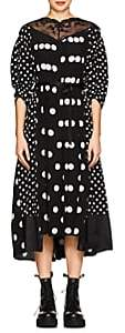 Marc Jacobs Women's Lace-Trimmed Polka Dot Silk Midi-Dress - Blk, Wht