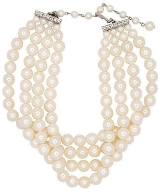 Kenneth Jay Lane 4 Row White Shell Pearl Necklace