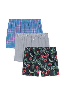 H&M 3-pack Woven Boxer Shorts - Dark blue/patterned - Men