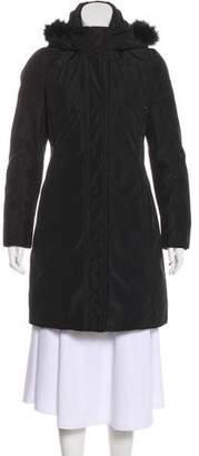 Post Card Fur-Trimmed Hooded Coat