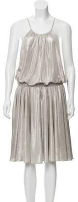 Halston Metallic Pleated Dress Silver Metallic Pleated Dress