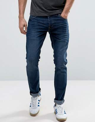 Solid Slim Fit Jeans In Dark Blue Wash With Stretch