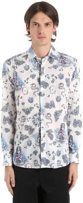 Etro Slim Tattoo Print Cotton Muslin Shirt