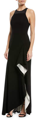 Halston Two-Tone Asymmetric Ruffle Gown