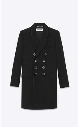 Saint Laurent OfficerS Coat In Cashmere Jacquard With Zigzag Braiding