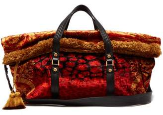 Versace Tasselled Printed Velvet Bag - Womens - Red Multi
