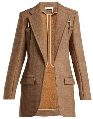 Chloé Long Tweed Harness Blazer - Womens - Brown Multi