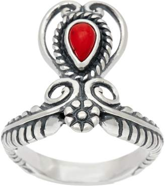 American West Sterling Silver Gemstone Heart & Leaf Ring