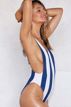 Nasty Gal Alina Striped Swimsuit