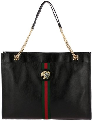 Gucci Shoulder Bag Rajah Large Bag In Leather With Web Band And Crystal Tiger