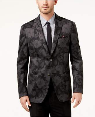 Tallia Men's Slim-Fit Black/Gray Floral-Print Soft Sport Coat