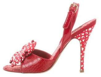 Louis Vuitton Alligator Bow-Embellished Sandals