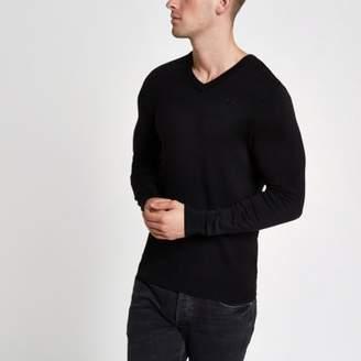 River Island Black slim fit V neck sweater