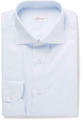 Brioni Light-Blue Cutaway-Collar Gingham Cotton Shirt