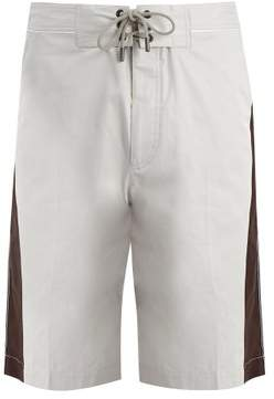 Lanvin Side Stripe Cotton Shorts - Mens - White
