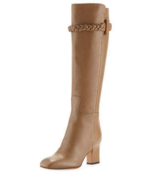 Valentino Tall Pebbled Leather Knee Boots w/Braided Strap