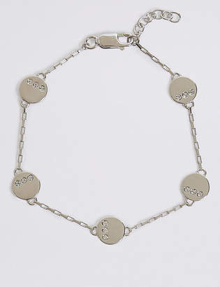 6bfe84a0a Swarovski M&S CollectionMarks and Spencer Sterling Silver Stone Disc  Bracelet with Crystals