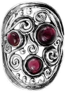 Or Paz Sterling Garnet Swirl & Bead Elongated Ring