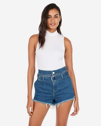 12a6694ff8 Express Super High Waisted Original Belted Denim Shorts