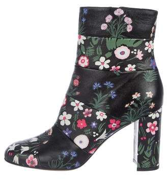 Valentino Floral Leather Ankle Boots