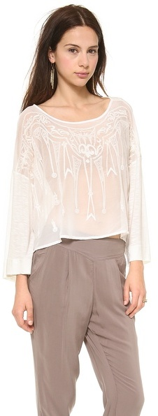 Free People Pandora's Embroidered Top