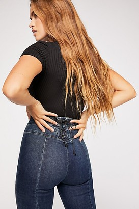 Free People Crvy Super High-Rise Lace-Up Flare Jeans by Denim