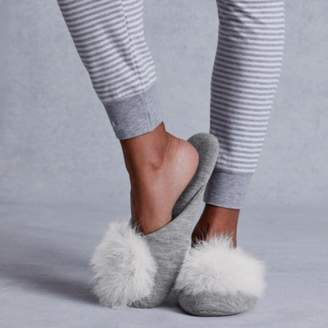 The White Company Feather Pom-Pom Mule Slippers