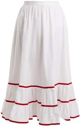 Stella Jean Contrast-trim cotton-poplin skirt