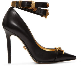 Versace Black Tribute Logo Heels