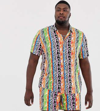 Asos Design DESIGN Plus Festival co-ord regular fit shirt with animal pattern stripe