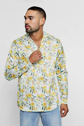 boohoo Floral Print Long Sleeve Revere Satin Shirt