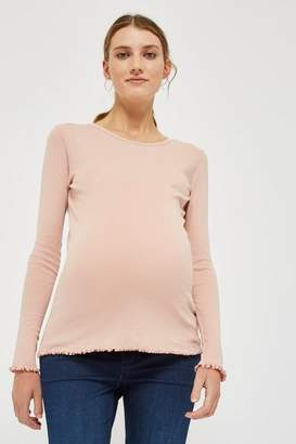 Topshop **Maternity Long Sleeve Lettuce Hem T-Shirt