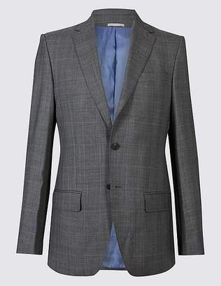 Marks and Spencer Grey Textured Regular Fit Wool Jacket