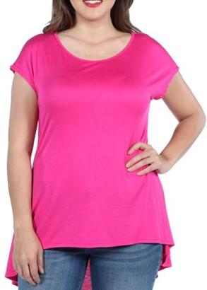 2ce8d6de4ab104 24/7 Comfort Apparel 24Seven Comfort Apparel Skyler Hi Lo Plus Size Tunic  Top