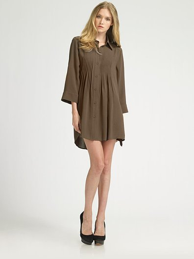 Alice + Olivia Mallory Pintuck Dress/Olive