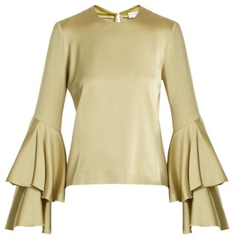 Galvan - Tiered Sleeve Crepe Back Satin Top - Womens - Green
