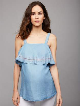 A Pea in the Pod Luxe Essentials Chambray Flounce Maternity Tank