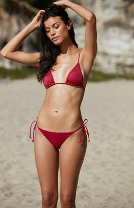 LA Hearts Basic Burgundy Triangle Bikini Top