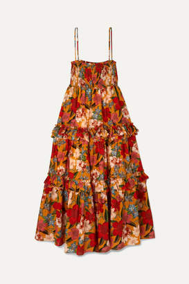 Nicholas Ruffled Shirred Floral-print Cotton And Silk-blend Dress - Orange