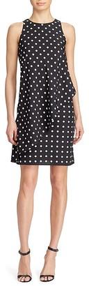 Lauren Ralph Lauren Asymmetric Overlay Polka Dot Crepe Dress - 100% Exclusive $155 thestylecure.com
