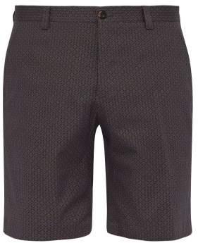 Etro Geometric Print Cotton Blend Shorts - Mens - Blue