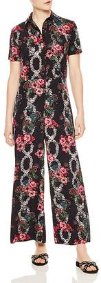 Sandro Tears Floral-Print Wide-Leg Jumpsuit