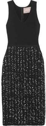 Lela Rose Ribbed-Knit And Bouclé-Tweed Dress