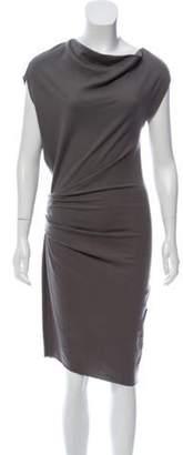 Helmut Lang Wool Midi Dress Grey Wool Midi Dress