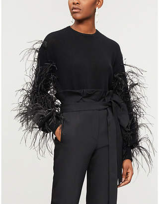 Valentino Feather-trim wool and cashmere-blend jumper