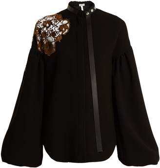 Loewe Floral-lace embellished bell-sleeved crepe top