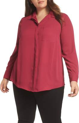 &.Layered Shirt Collar Blouse