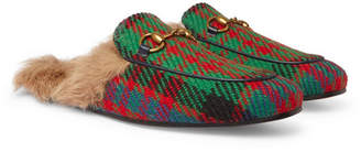 Gucci Princetown Shearling-Lined Tweed Backless Loafers - Multi